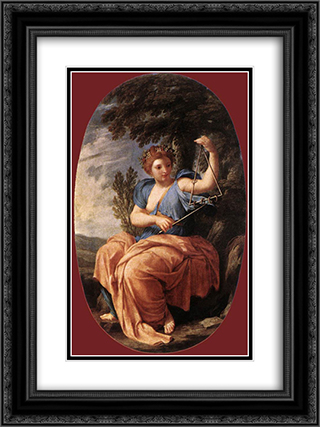 The Muse Terpsichore 18x24 Black or Gold Ornate Framed and Double Matted Art Print by Eustache Le Sueur