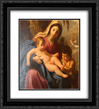 The Virgin and Child with Saint John the Baptist 20x22 Black or Gold Ornate Framed and Double Matted Art Print by Eustache Le Sueur