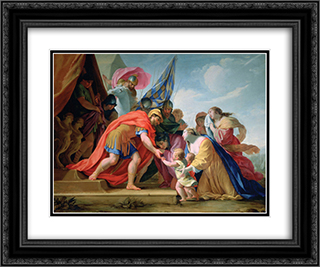 Volumnia and Verturia Before Coriolanus 24x20 Black or Gold Ornate Framed and Double Matted Art Print by Eustache Le Sueur