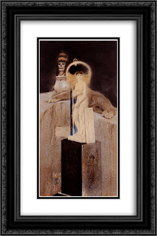 After Josephin Peladan, The Supreme Vice 16x24 Black or Gold Ornate Framed and Double Matted Art Print by Fernand Khnopff