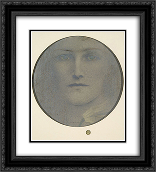 Distrust 20x22 Black or Gold Ornate Framed and Double Matted Art Print by Fernand Khnopff