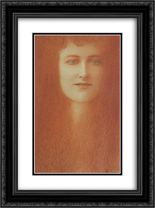 etude de femme 18x24 Black or Gold Ornate Framed and Double Matted Art Print by Fernand Khnopff
