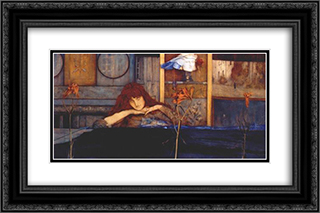 I lock my door upon myself 24x16 Black or Gold Ornate Framed and Double Matted Art Print by Fernand Khnopff