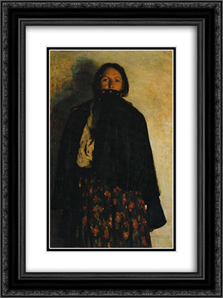 A peasant covering up her mouth by coat 18x24 Black or Gold Ornate Framed and Double Matted Art Print by Filipp Malyavin