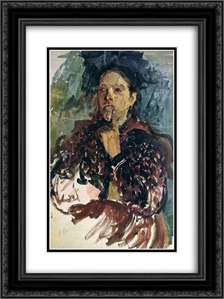 A Peasant Woman 18x24 Black or Gold Ornate Framed and Double Matted Art Print by Filipp Malyavin