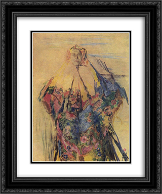 A peasant woman with a patterned headscarf 20x24 Black or Gold Ornate Framed and Double Matted Art Print by Filipp Malyavin