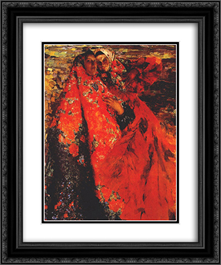 A Peasant Women 20x24 Black or Gold Ornate Framed and Double Matted Art Print by Filipp Malyavin