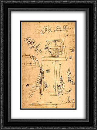 Sketches of the machines 18x24 Black or Gold Ornate Framed and Double Matted Art Print by Filippo Brunelleschi