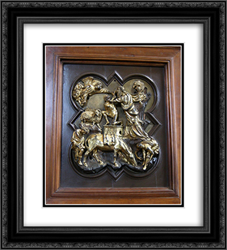 The Sacrifice of Isaac, bronze competition relief for the Baptistry Doors, Florence, 1401 (bronze) 20x22 Black or Gold Ornate Framed and Double Matted Art Print by Filippo Brunelleschi