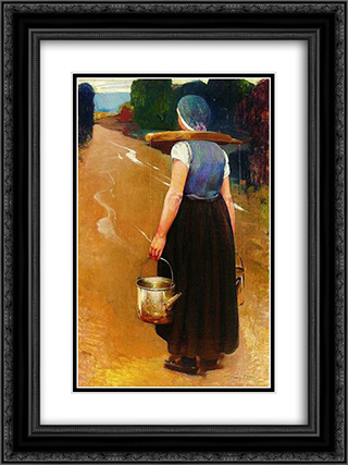 A Breton woman 18x24 Black or Gold Ornate Framed and Double Matted Art Print by Firmin Baes