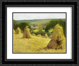 Sheaves of corn 24x20 Black or Gold Ornate Framed and Double Matted Art Print by Firmin Baes
