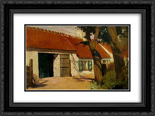 Sunny farm 24x18 Black or Gold Ornate Framed and Double Matted Art Print by Firmin Baes