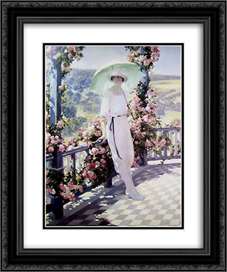 Sunny terrace 20x24 Black or Gold Ornate Framed and Double Matted Art Print by Firmin Baes