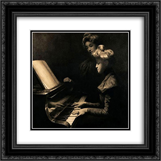 The piano lesson 20x20 Black or Gold Ornate Framed and Double Matted Art Print by Firmin Baes