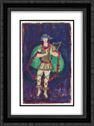 Costume design (Nijinsky) for artist's ballet Orphee of the Quat-z-arts 18x24 Black or Gold Ornate Framed and Double Matted Art Print by Florine Stettheimer