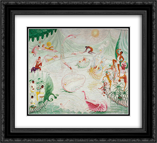 Natatorium Undine 22x20 Black or Gold Ornate Framed and Double Matted Art Print by Florine Stettheimer