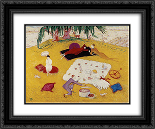 Picnic at Bedford Hills 24x20 Black or Gold Ornate Framed and Double Matted Art Print by Florine Stettheimer