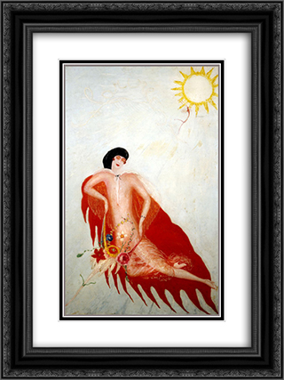 Portrait of Myself 18x24 Black or Gold Ornate Framed and Double Matted Art Print by Florine Stettheimer