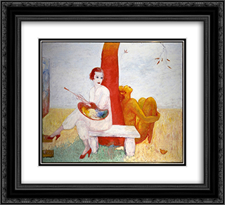 Self-Portrait with Palette (Painter and Faun) 22x20 Black or Gold Ornate Framed and Double Matted Art Print by Florine Stettheimer