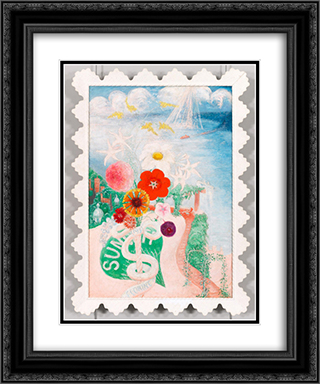 Sun 20x24 Black or Gold Ornate Framed and Double Matted Art Print by Florine Stettheimer