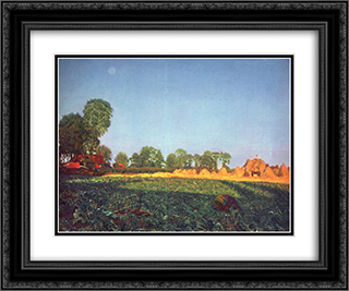 At the grain harvest 24x20 Black or Gold Ornate Framed and Double Matted Art Print by Ford Madox Brown