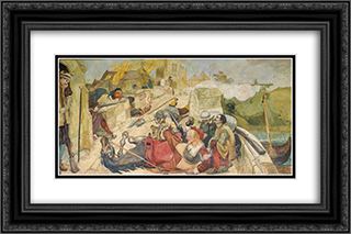 Bradshaw's defence of Manchester 24x16 Black or Gold Ornate Framed and Double Matted Art Print by Ford Madox Brown