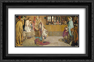 Cartoon for the Baptism of Edwin (c.585-633) King of Northumbria and Deira 24x16 Black or Gold Ornate Framed and Double Matted Art Print by Ford Madox Brown