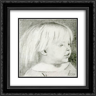 Cathy Madox Brown at the age of three years 20x20 Black or Gold Ornate Framed and Double Matted Art Print by Ford Madox Brown