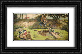Dalton Collecting Marsh Fire Gas 24x16 Black or Gold Ornate Framed and Double Matted Art Print by Ford Madox Brown