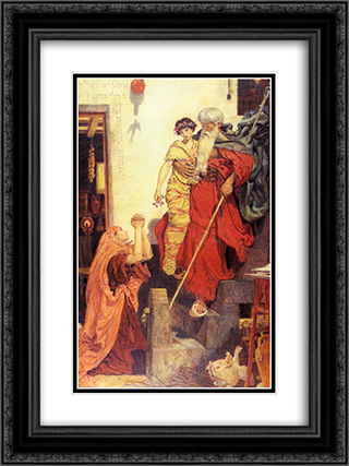 Elijah restoring the Widow's Son 18x24 Black or Gold Ornate Framed and Double Matted Art Print by Ford Madox Brown