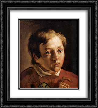 Head of a Page Boy 20x22 Black or Gold Ornate Framed and Double Matted Art Print by Ford Madox Brown