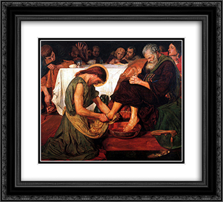 Jesus Washing Peter's Feet 22x20 Black or Gold Ornate Framed and Double Matted Art Print by Ford Madox Brown