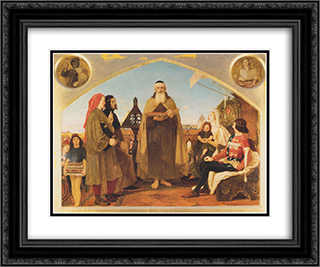 John Wycliffe reading his translation of the Bible to John of Gaunt 24x20 Black or Gold Ornate Framed and Double Matted Art Print by Ford Madox Brown