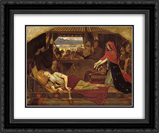 Lear and Cordelia 24x20 Black or Gold Ornate Framed and Double Matted Art Print by Ford Madox Brown