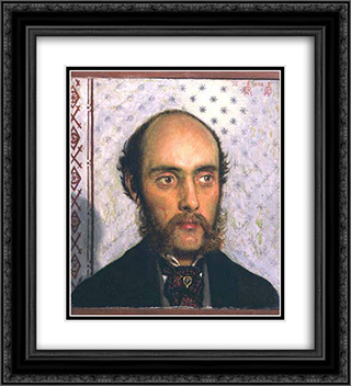 Portrait of William Michael Rossetti (1829-1919) by Lamplight 20x22 Black or Gold Ornate Framed and Double Matted Art Print by Ford Madox Brown