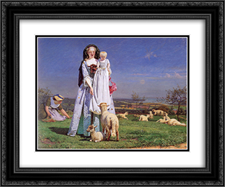 Pretty Baa-Lambs 24x20 Black or Gold Ornate Framed and Double Matted Art Print by Ford Madox Brown
