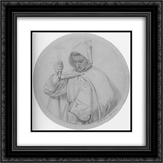 Study of a Monk, representing Catholic Faith 20x20 Black or Gold Ornate Framed and Double Matted Art Print by Ford Madox Brown