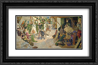 The Establishment of the Flemish Weavers in Manchester in 1363 24x16 Black or Gold Ornate Framed and Double Matted Art Print by Ford Madox Brown