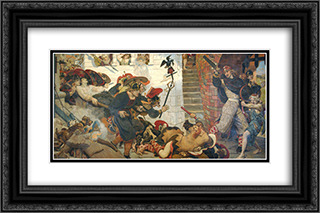The Expulsion of the Danes from Manchester 24x16 Black or Gold Ornate Framed and Double Matted Art Print by Ford Madox Brown