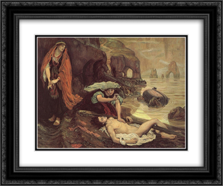 The Finding of Don Juan by Haidee 24x20 Black or Gold Ornate Framed and Double Matted Art Print by Ford Madox Brown