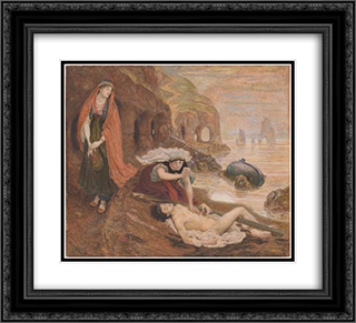 The finding of Don Juan by Haidee 22x20 Black or Gold Ornate Framed and Double Matted Art Print by Ford Madox Brown