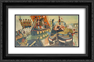 The Opening of the Bridgewater Canal 24x16 Black or Gold Ornate Framed and Double Matted Art Print by Ford Madox Brown