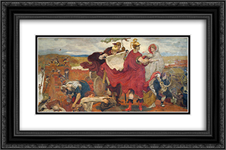 The Romans Building a Fort at Mancenion 24x16 Black or Gold Ornate Framed and Double Matted Art Print by Ford Madox Brown