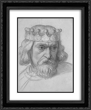 The Spirit of Justice, study for the head of a Counsellor 20x24 Black or Gold Ornate Framed and Double Matted Art Print by Ford Madox Brown