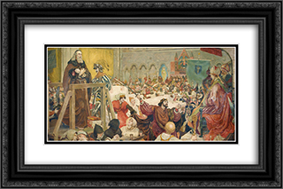 The Trial of Wycliffe A.D. 24x16 Black or Gold Ornate Framed and Double Matted Art Print by Ford Madox Brown