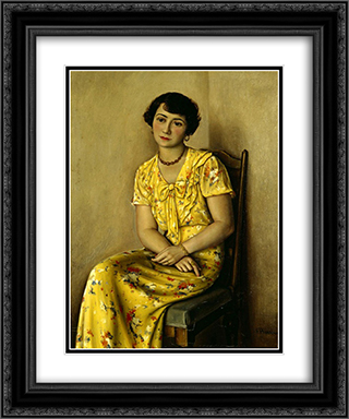 Jeune femme en jaune 20x24 Black or Gold Ornate Framed and Double Matted Art Print by Francois Barraud