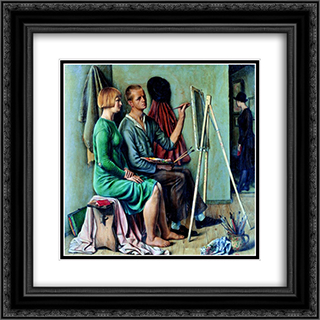 L'atelier 20x20 Black or Gold Ornate Framed and Double Matted Art Print by Francois Barraud