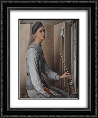 Self-Portrait 20x24 Black or Gold Ornate Framed and Double Matted Art Print by Francois Barraud