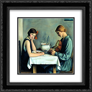 Tailleuses de soupe 20x20 Black or Gold Ornate Framed and Double Matted Art Print by Francois Barraud