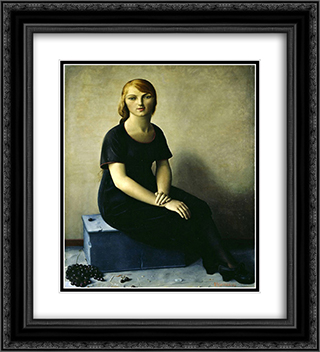 Yvonne in a Velvet Dress 20x22 Black or Gold Ornate Framed and Double Matted Art Print by Francois Barraud